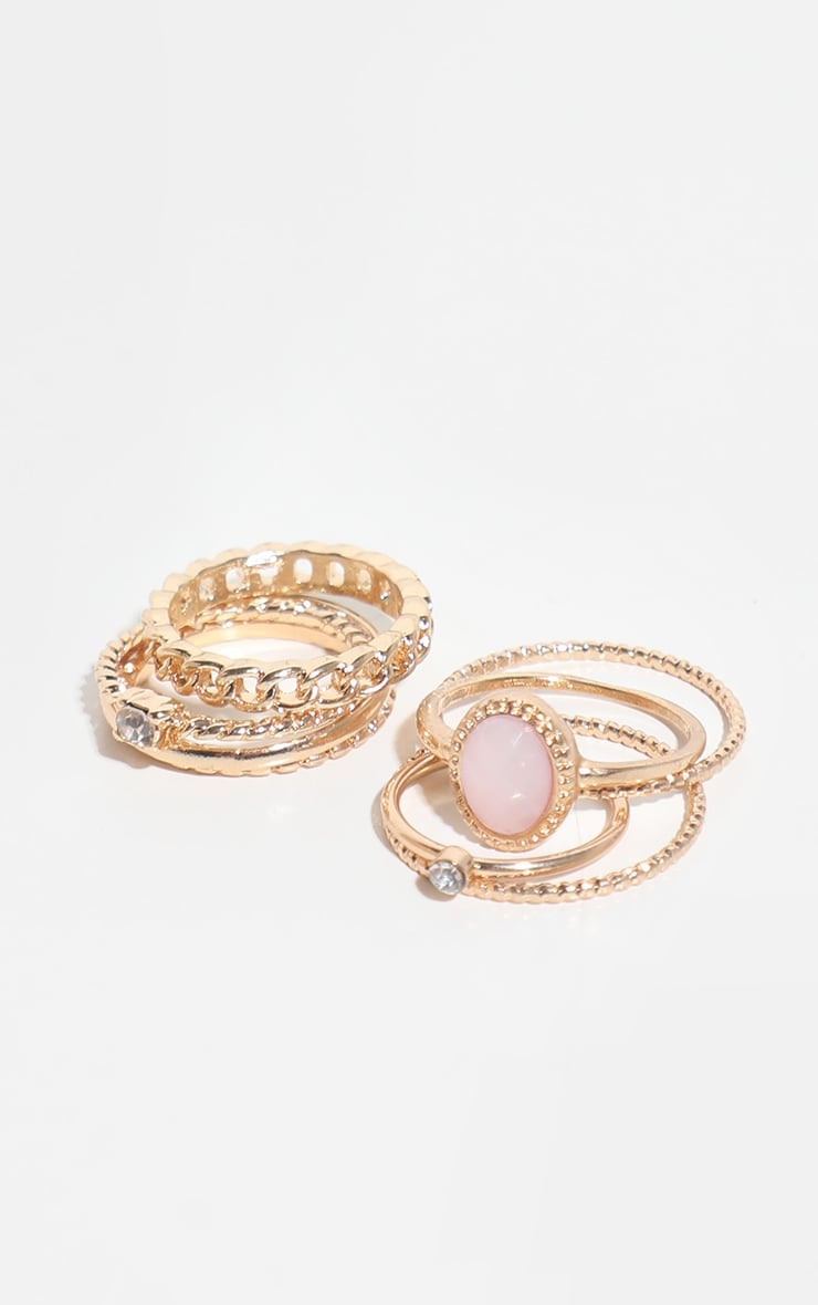 Gold Mixed Textured Ring 8 Pack 1