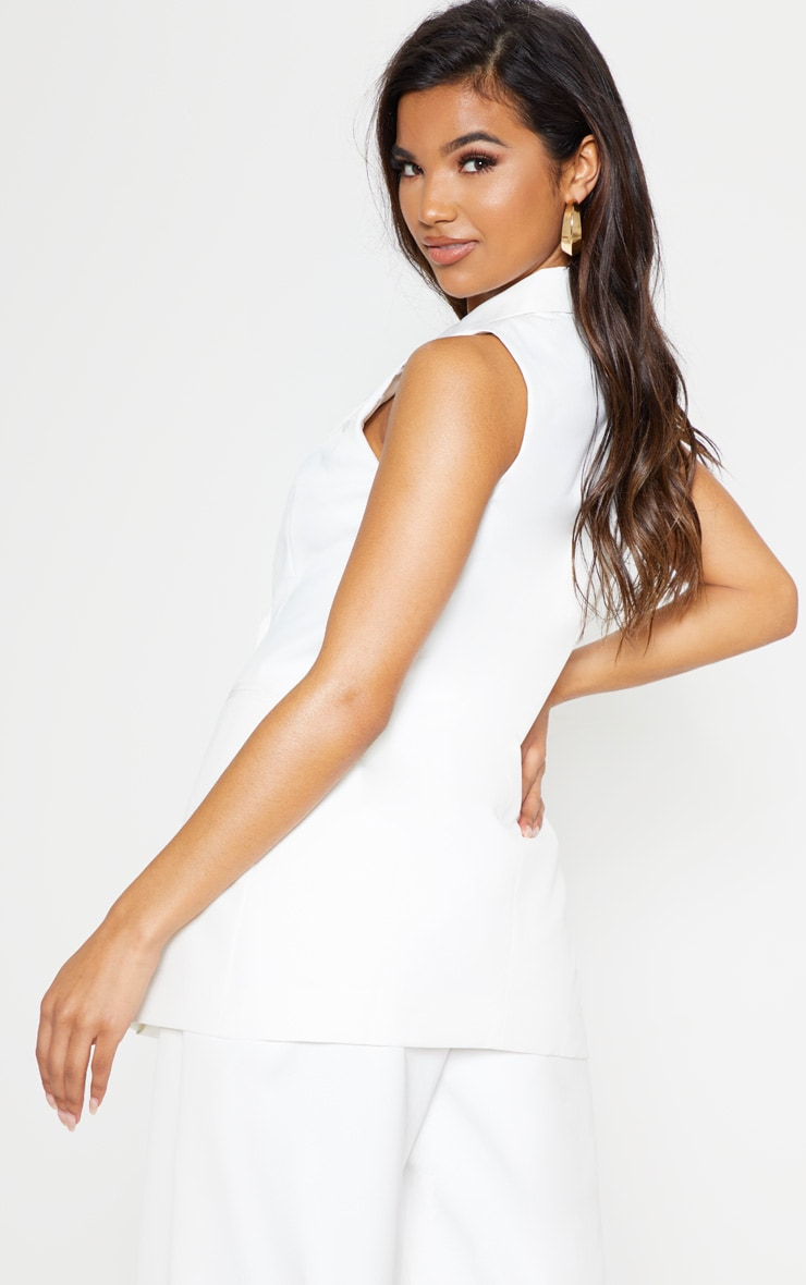 White Sleeveless Bodycon Blazer 3