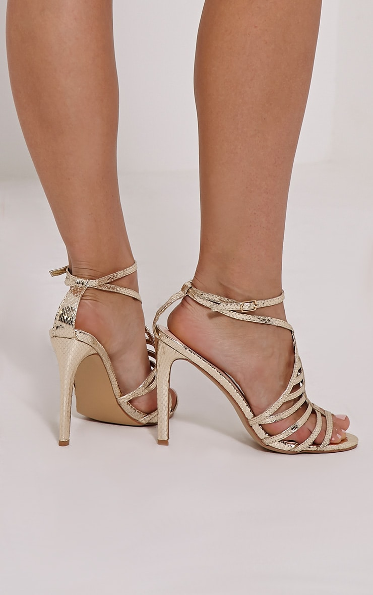 Pamela Gold Strappy Heeled Sandals 1