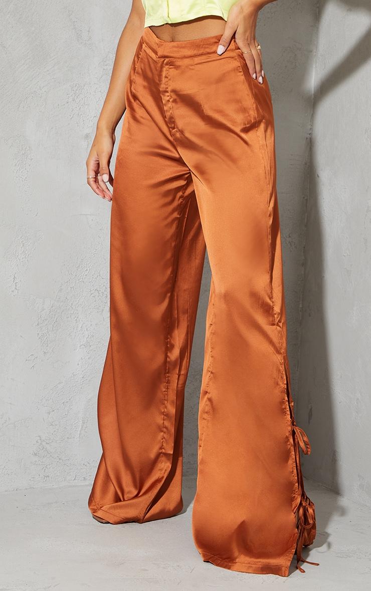 Rust Satin Wide Leg Tie Trousers 2