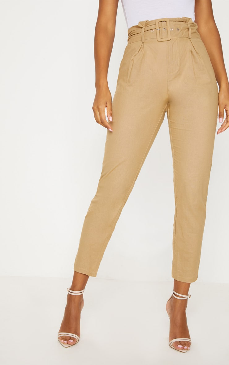 Stone Belted Paperbag Tapered Trouser 2