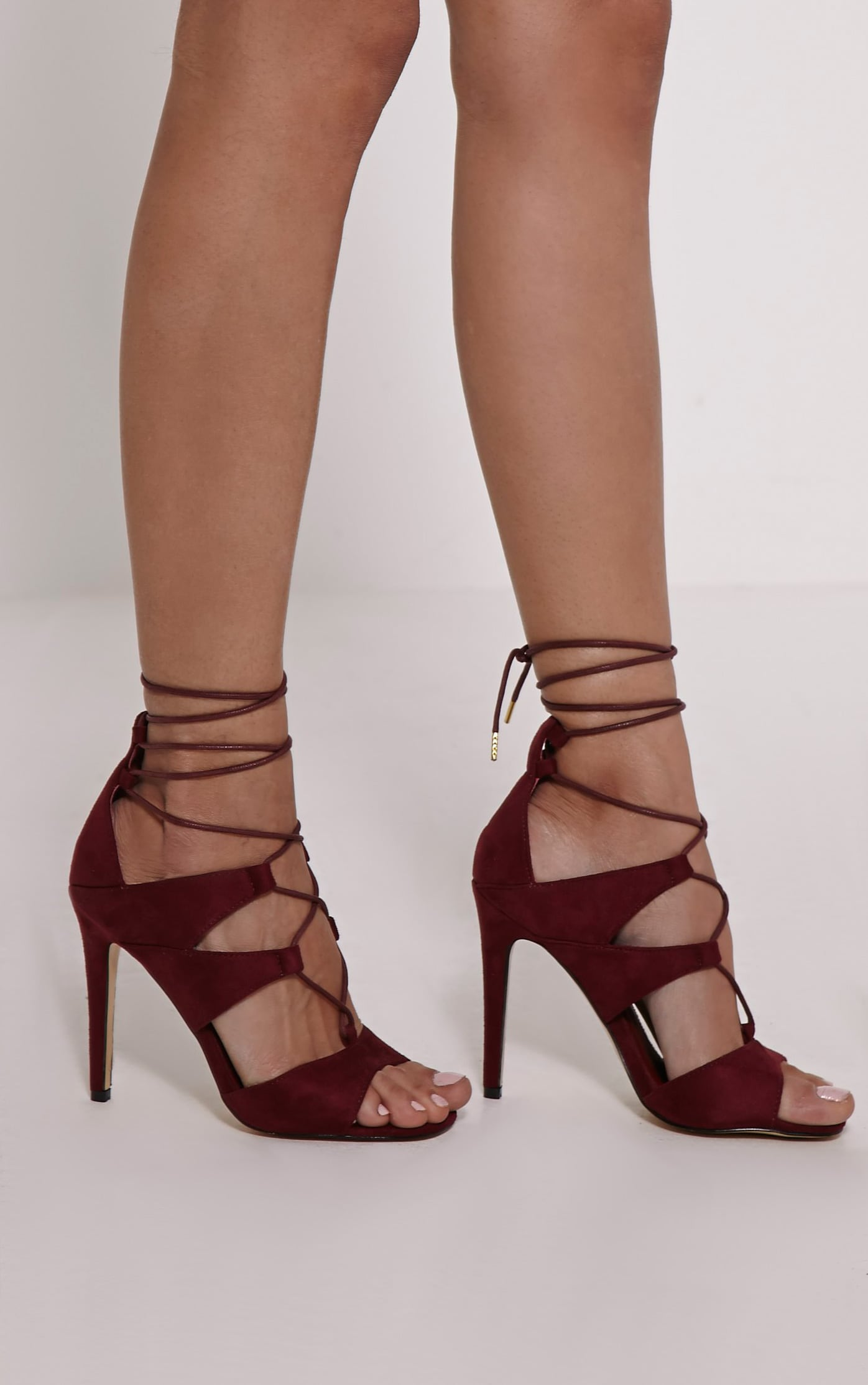 Wilma Red Cut Out Lace Up Heeled Sandals 1
