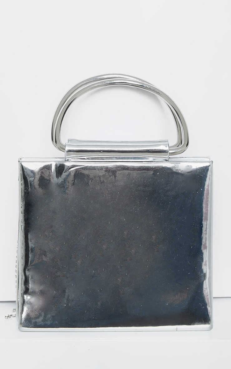 Metallic Silver Diamante Tassel Grab Bag   3