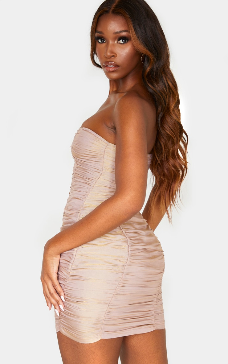 Dusty Pink Iridescent Ruched Bandeau Bodycon Dress 2