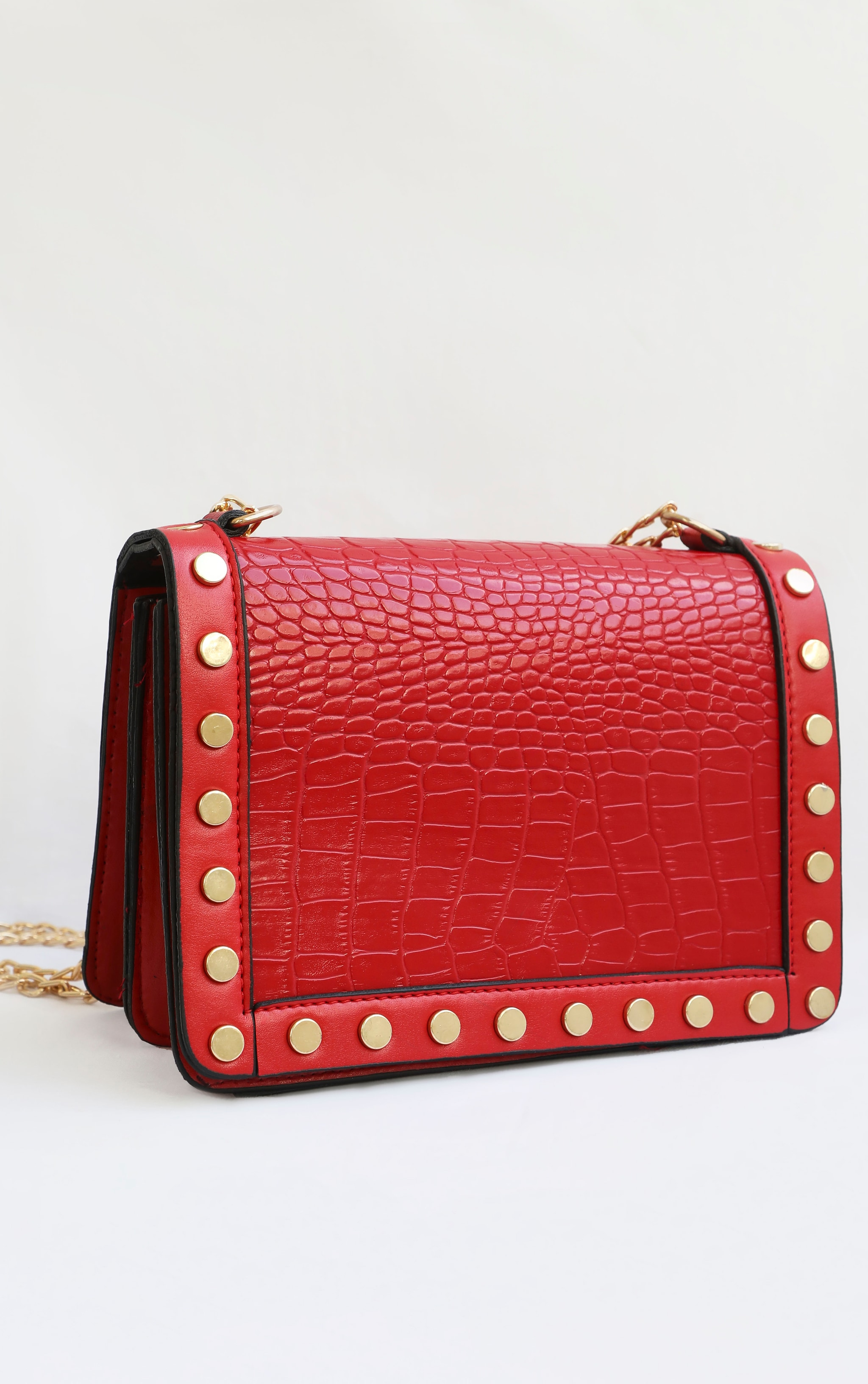 Red Studded Croc Cross Body Bag 2