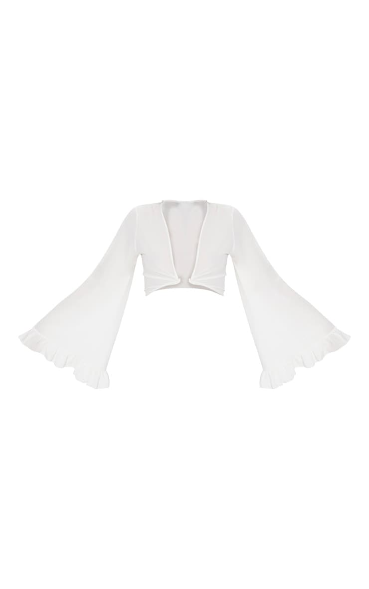 White Tie Front Extreme Sleeve Crop Top  3