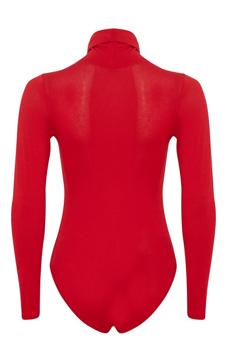 Basic Red Roll Neck Bodysuit 8