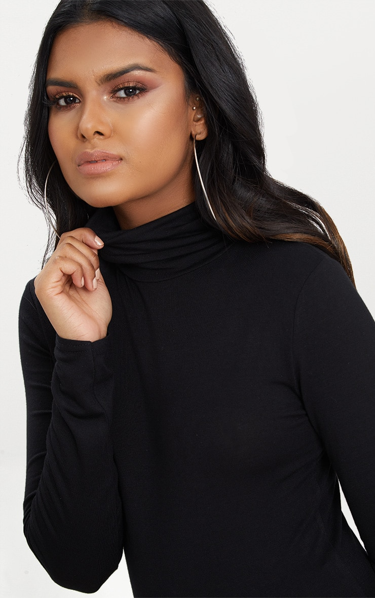 Petite Black Basic Roll Neck Long Sleeve Bodysuit 5