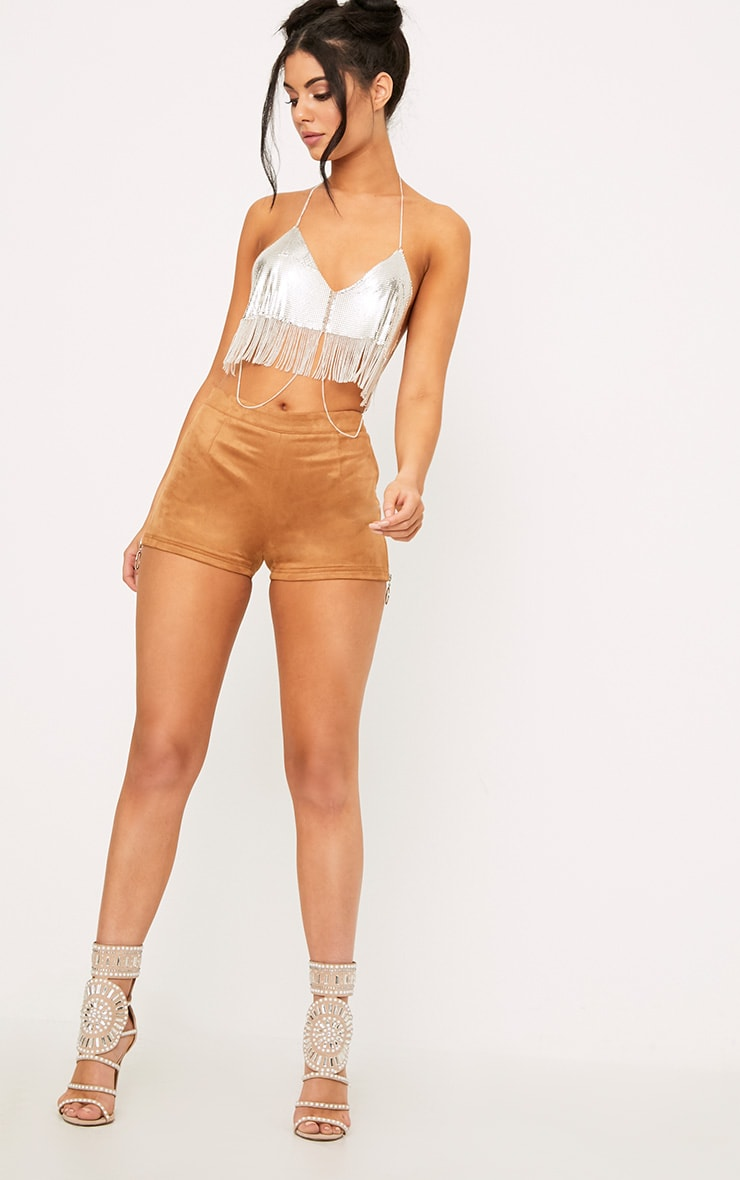 Camel Faux Suede Ring Zip Shorts 6