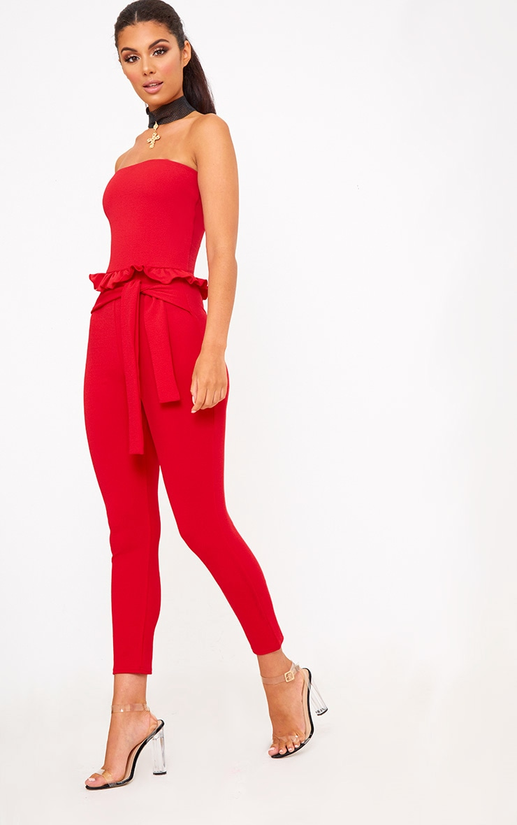 Red Frill Tie Waist Jumpsuit 4