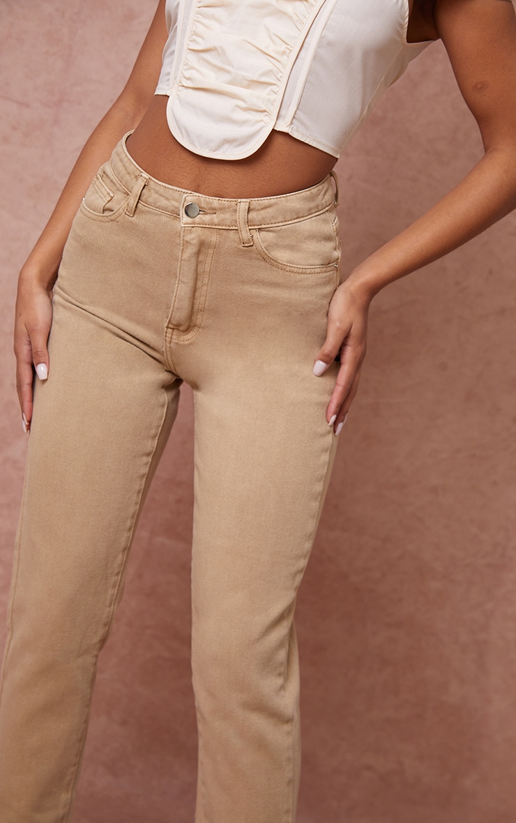 PRETTYLITTLETHING Tan Mom Jeans 4