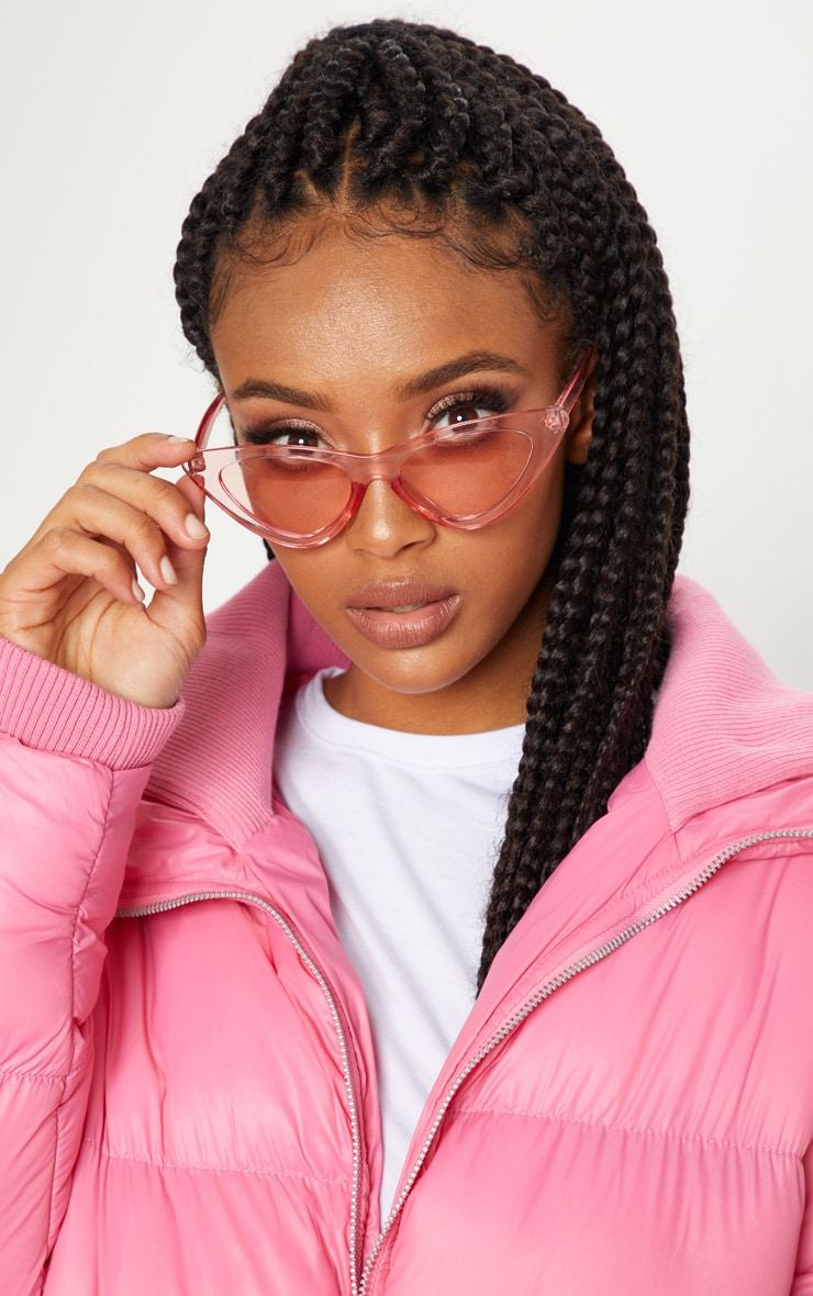 Pink Curved Cat Eye Sunglasses