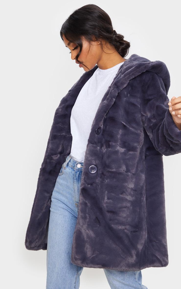 Dark Grey Hooded Faux Fur Midi Coat 1