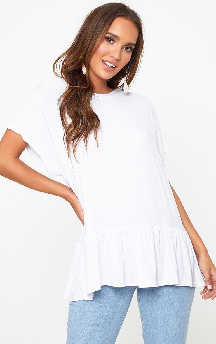 White Lace Up Back Frill Hem T Shirt 3