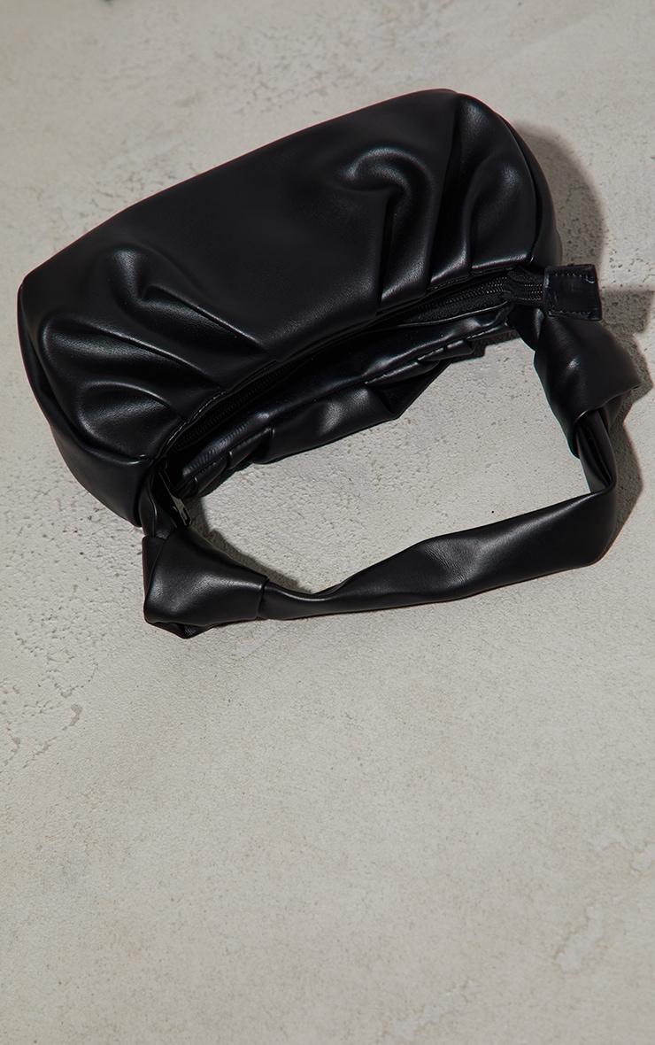 Black Double Knot Pleated Shoulder Bag 4