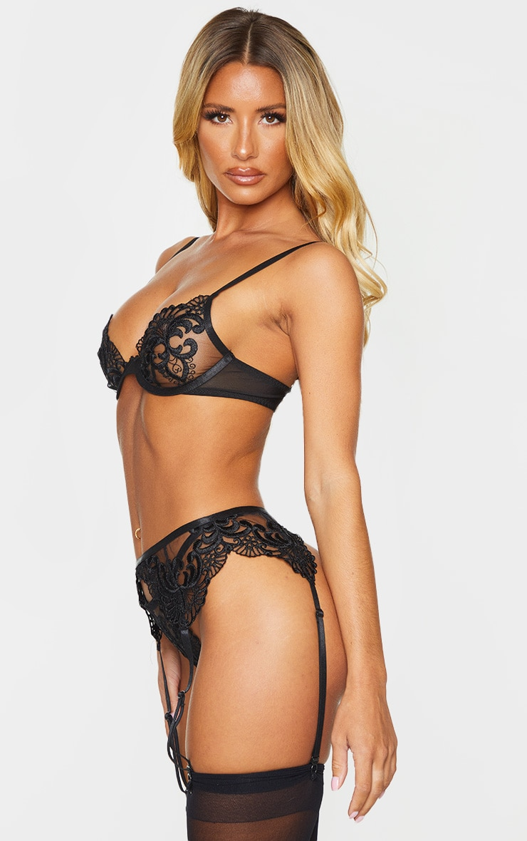 Black Embroidered Lace Strappy Thong 2