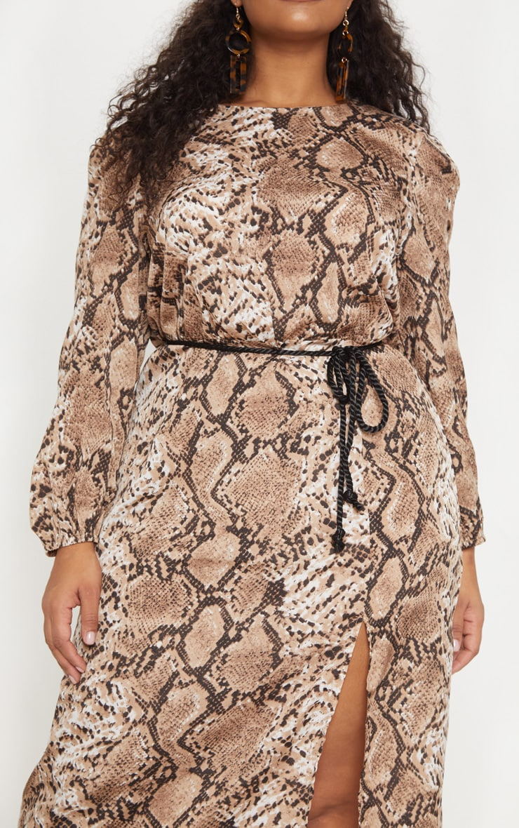 Plus Taupe Tie Waist Snake Print Midi Dress 5