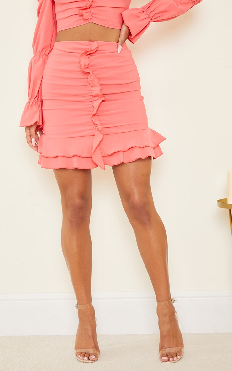 Coral Woven Frill Stretch Ruched Front Mini Skirt 2