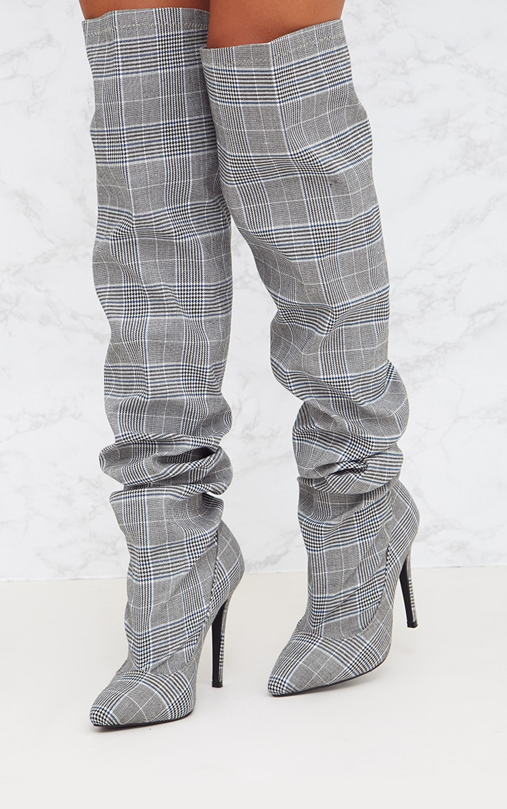 Grey Check Heeled Slouch Boots 2