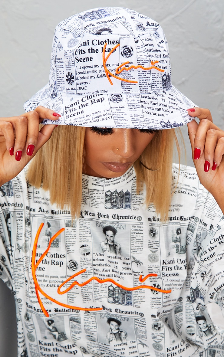 KARL KANI White Newspaper Print Bucket Hat 3