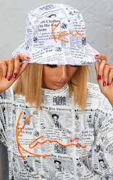 9b70327af9e7b KARL KANI White Newspaper Print Bucket Hat image 3