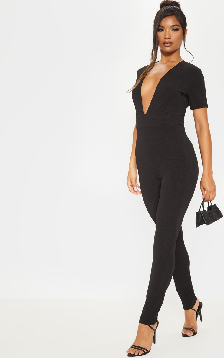 Black Short Sleeve Plunge Jumpsuit 4