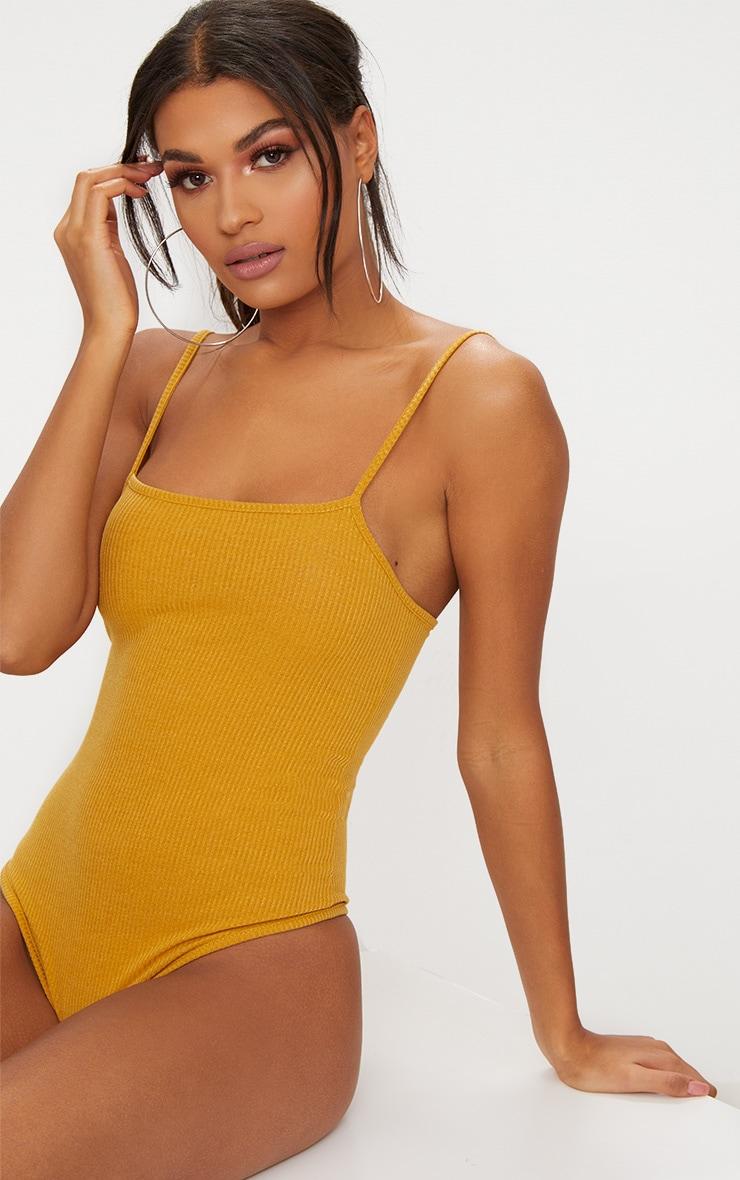 Mustard Ribbed Square Neck Thong Bodysuit 2