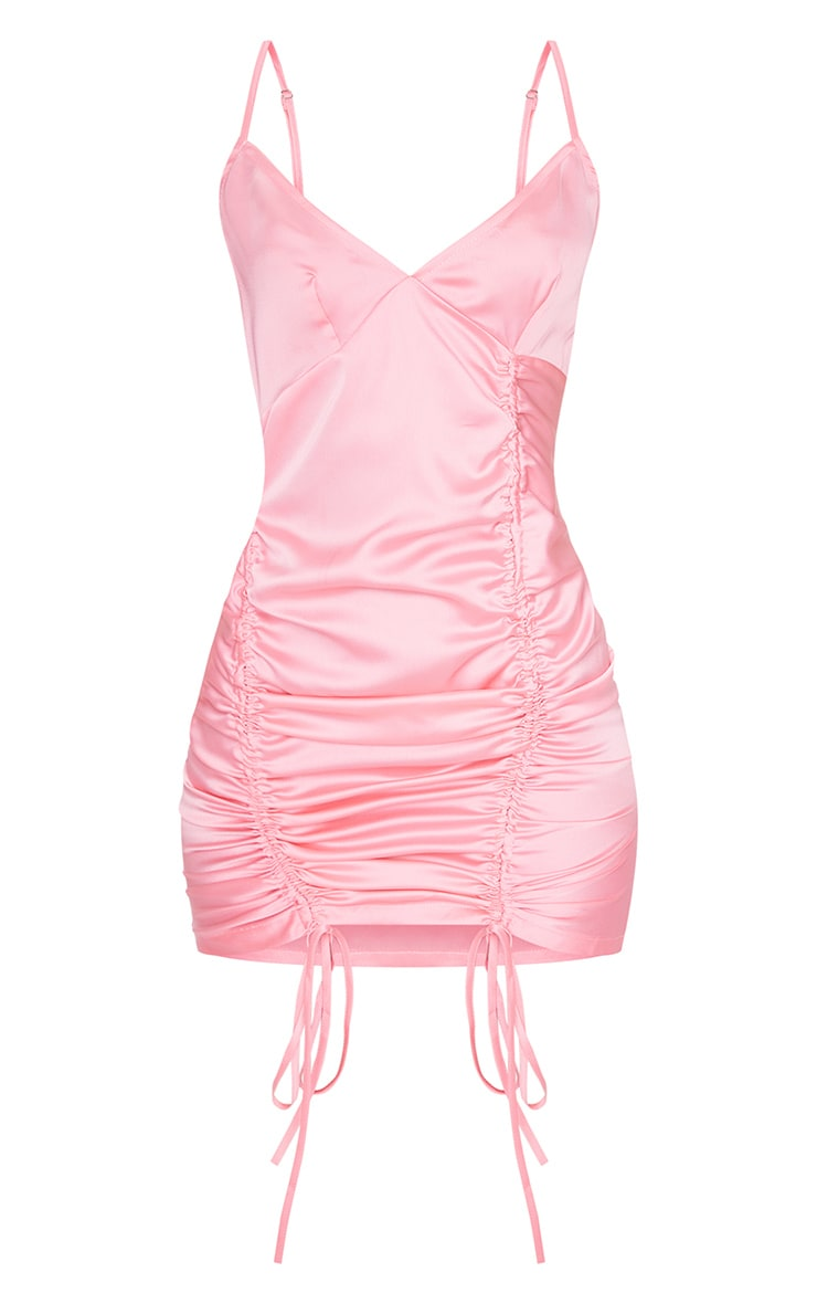 Pink Satin Double Ruched Front Bodycon Dress 5