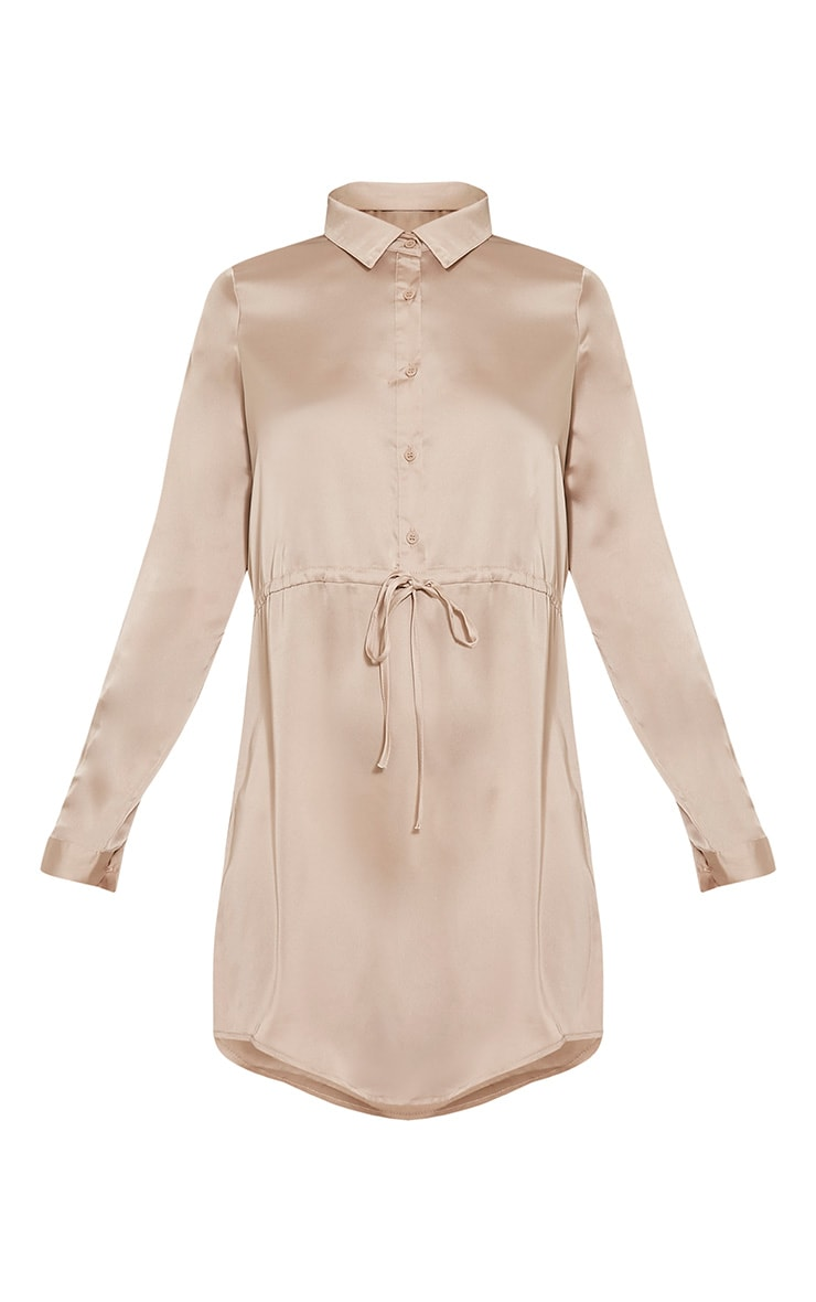 Amanda Champagne Tie Waist Satin Shirt Dress 3