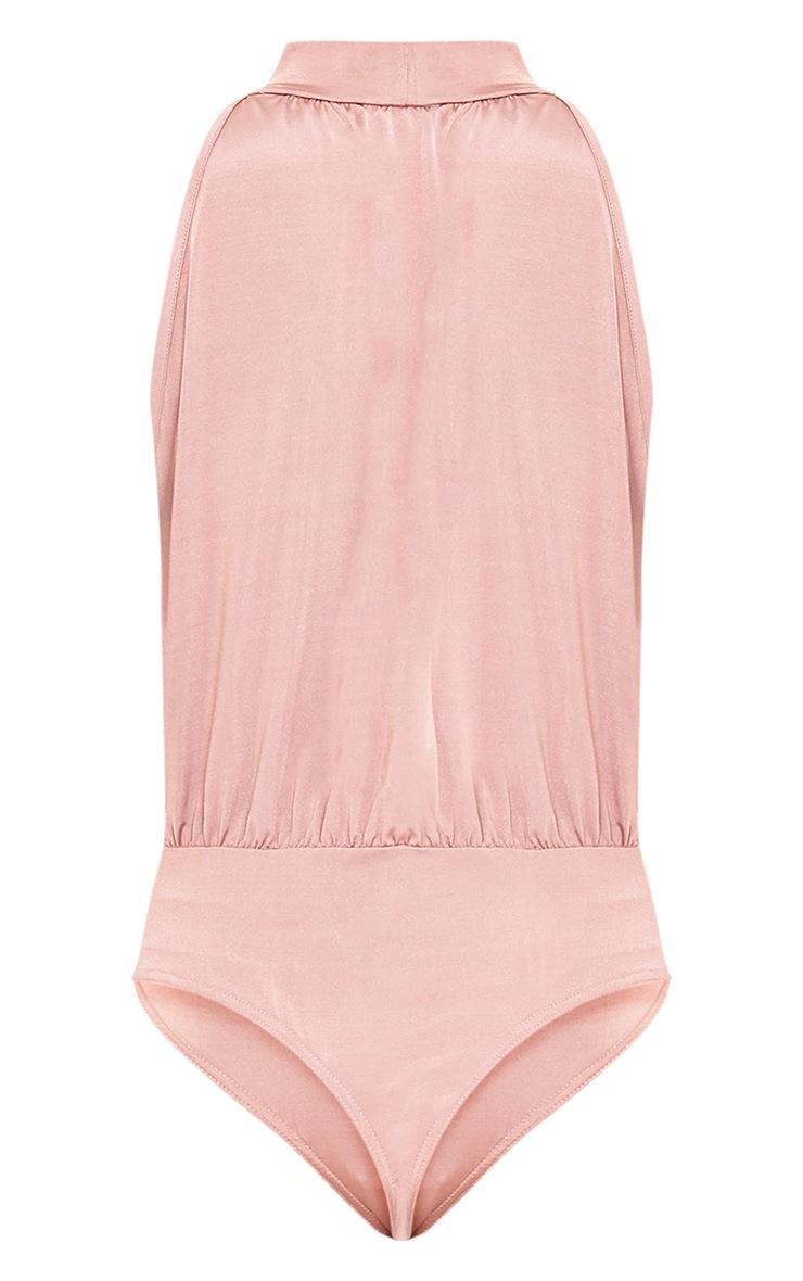 Laura Pink Slinky Shimmer High Neck Thong Bodysuit 4
