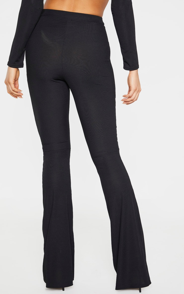 Tall Black Ribbed Flared Trousers 3