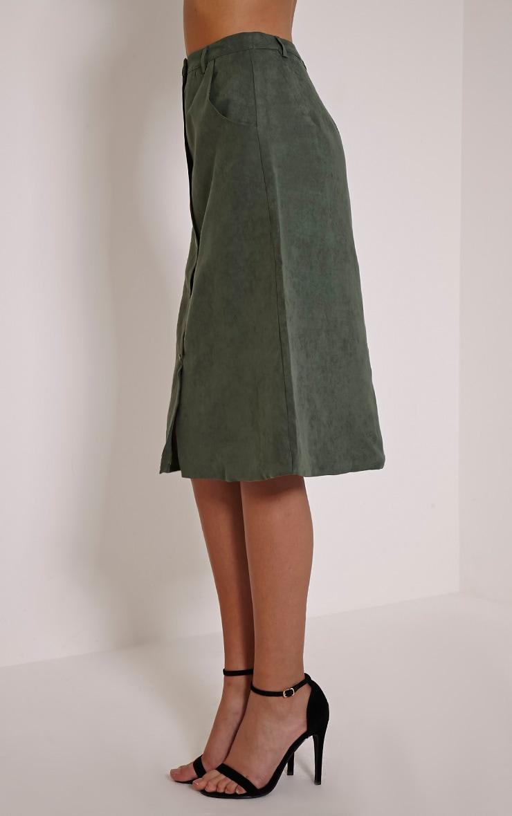 Zahara Khaki Faux Suede Button Down Midi Skirt 4