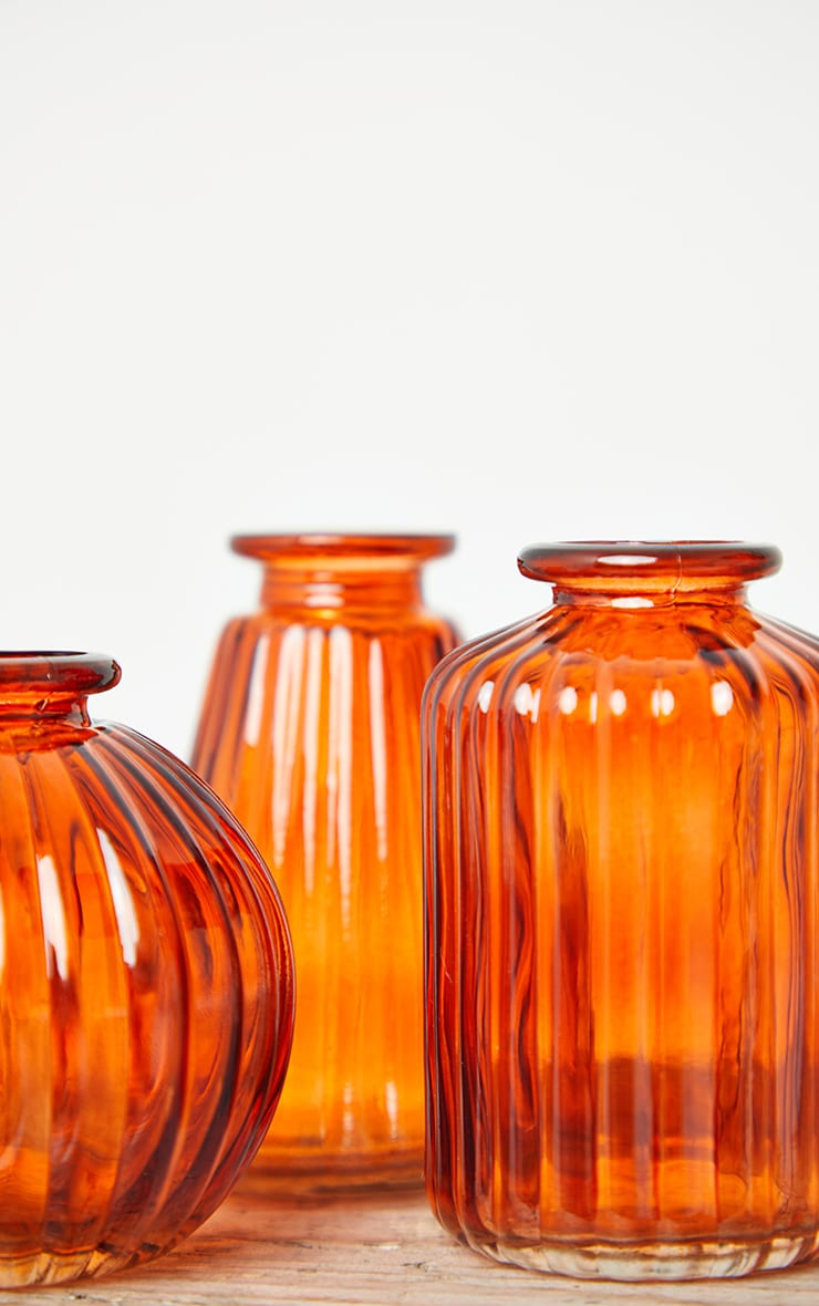 Amber Glass Bud Vases - Set of 3 5