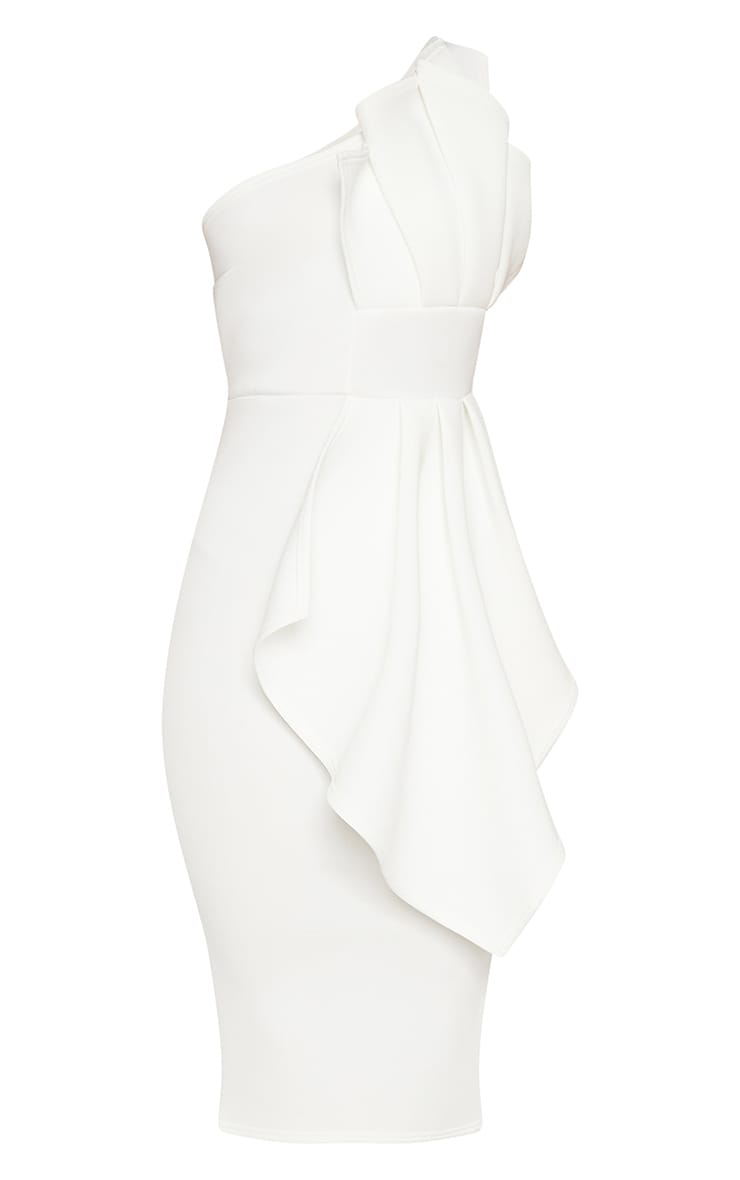 White One Shoulder Pleated Detail Midi Dress 3