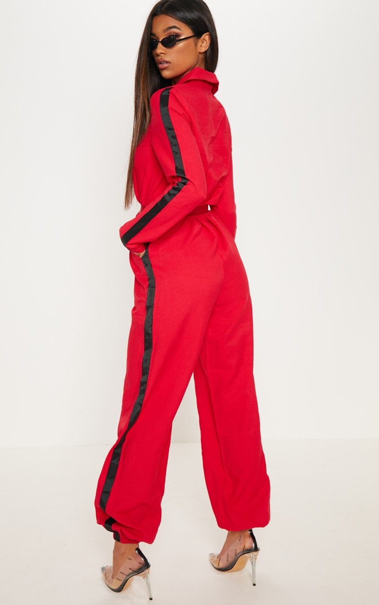 Red Utility Belted Jumpsuit 2