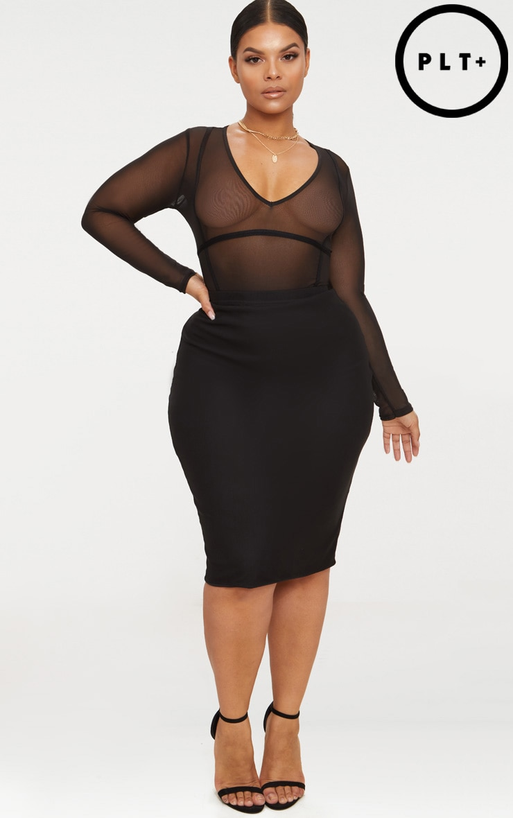 Plus Black Mesh Midi Skirt 1