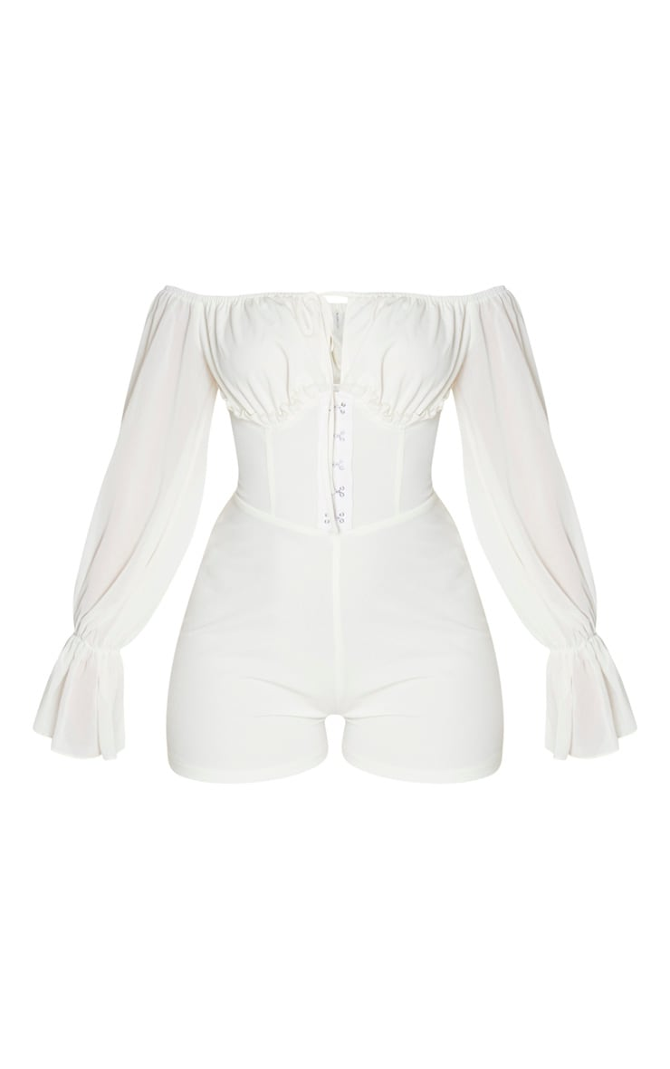 Cream Corset Detail Chiffon Sleeve Playsuit 3