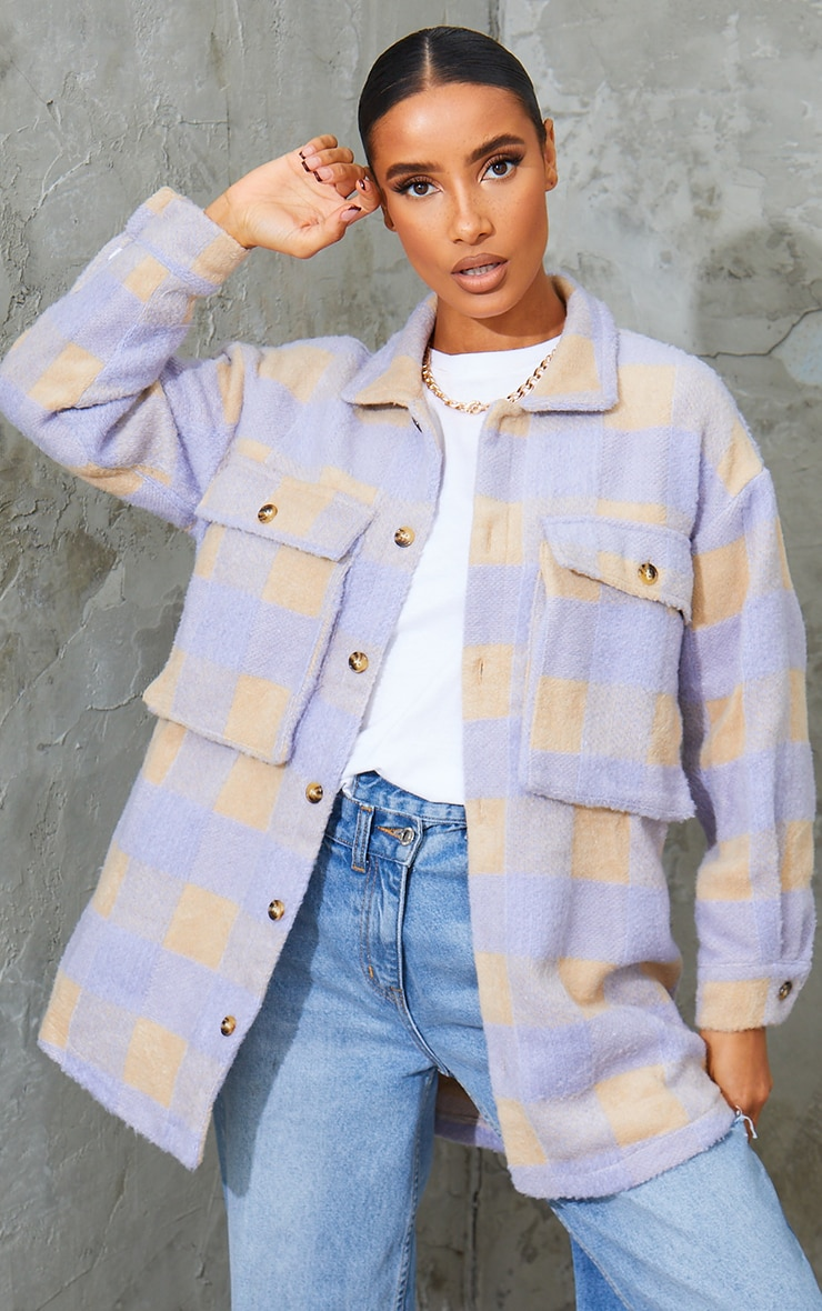 Lilac Checked Wool Look Oversized Shacket 1
