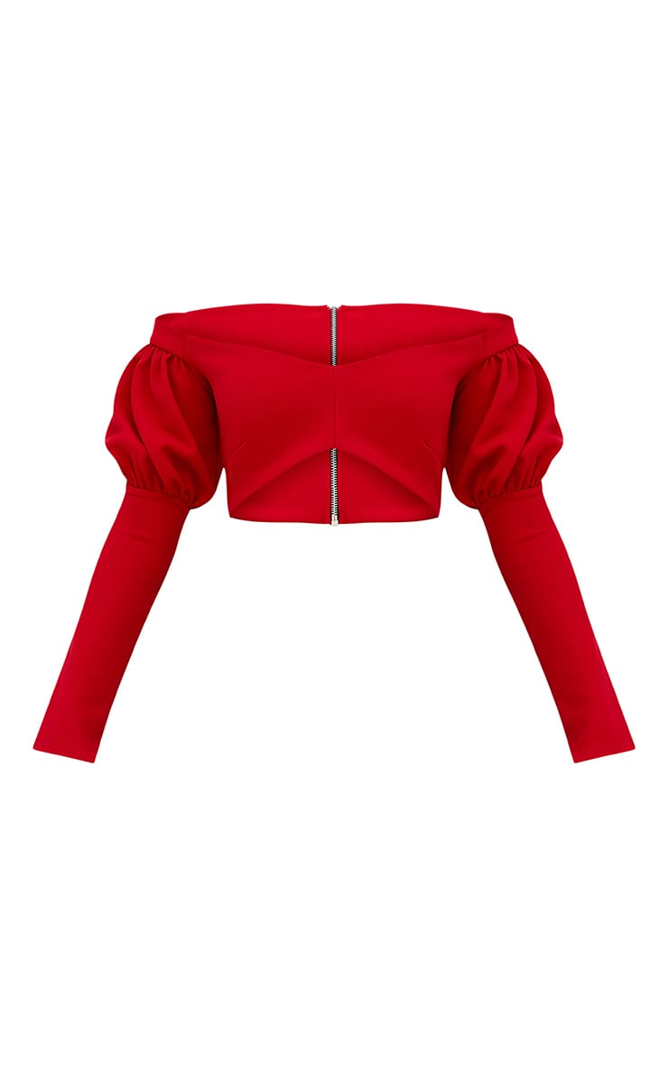 Red Puff Sleeve Bardot Crop Top 4