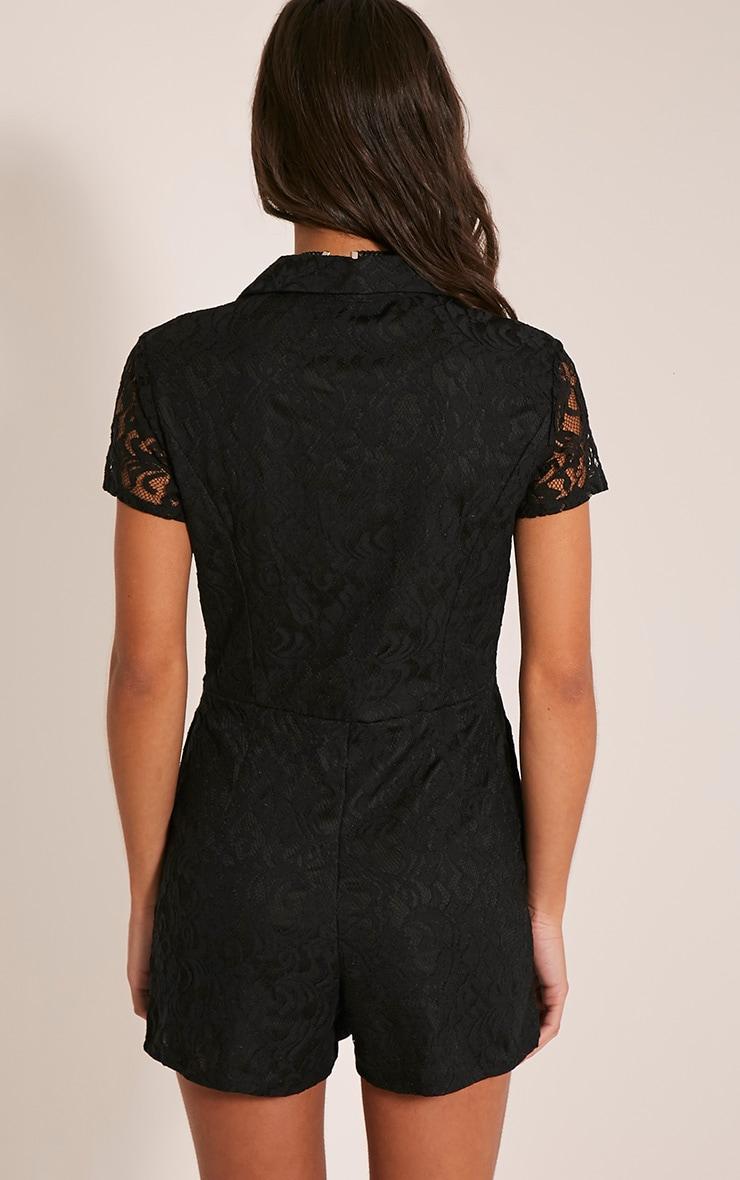 Clarisa Black Lace Shirt Playsuit 2