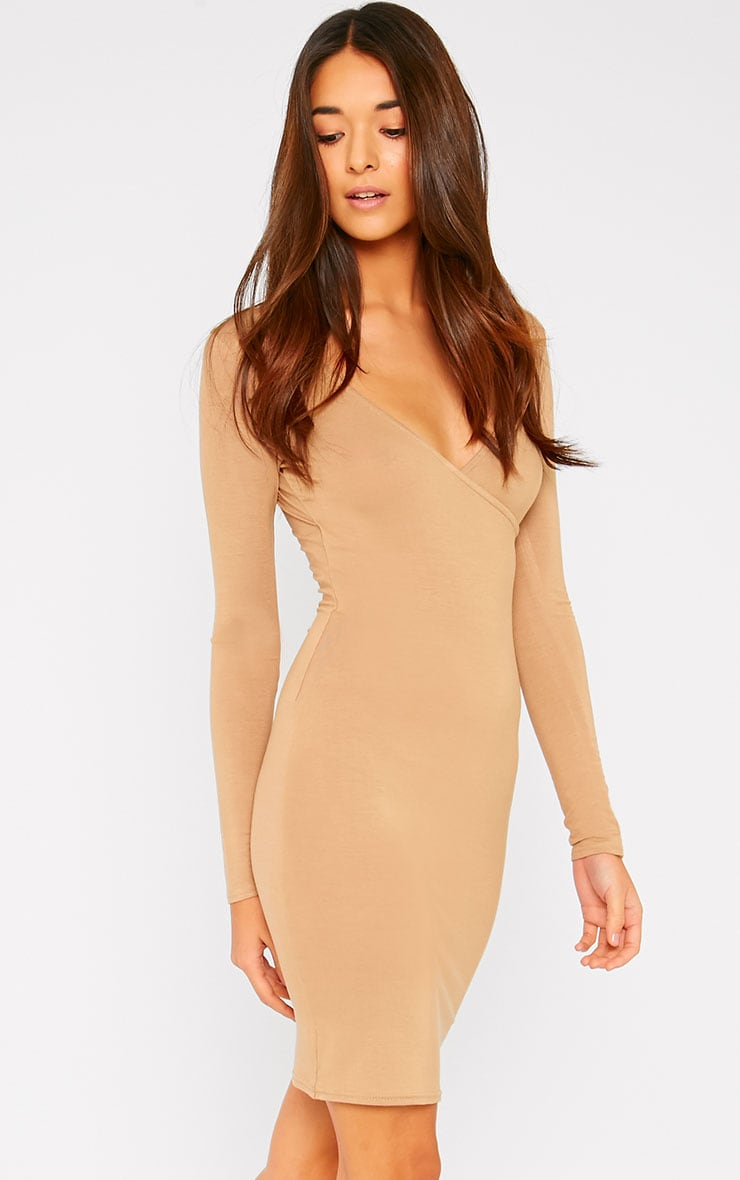 Basic Camel Wrap Dress 3