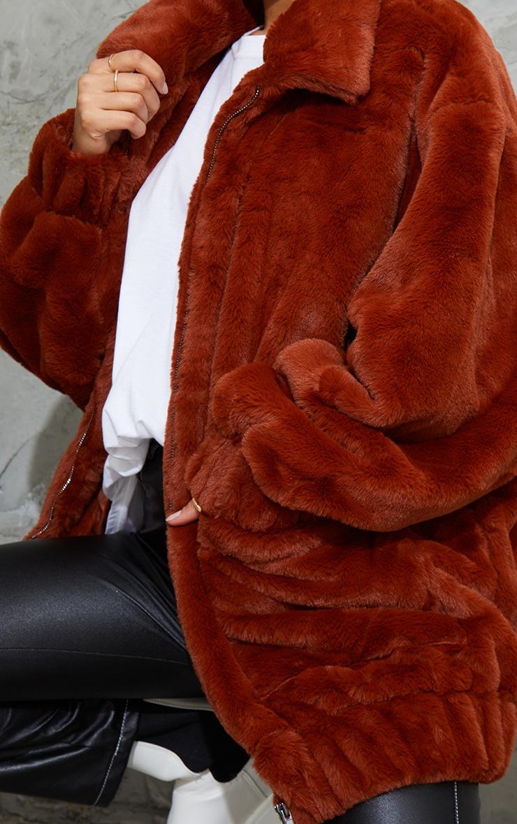 Brown Faux Fur Pocket Front Coat 4