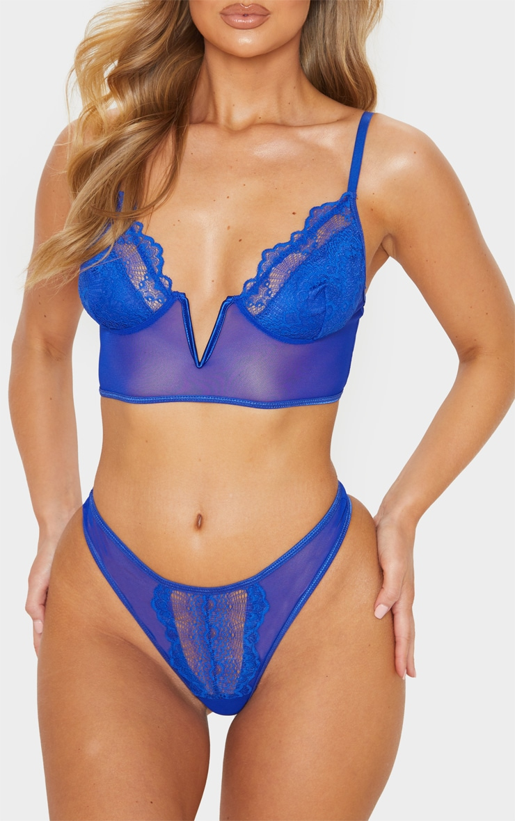 Cobalt Lace And Mesh Thong 1