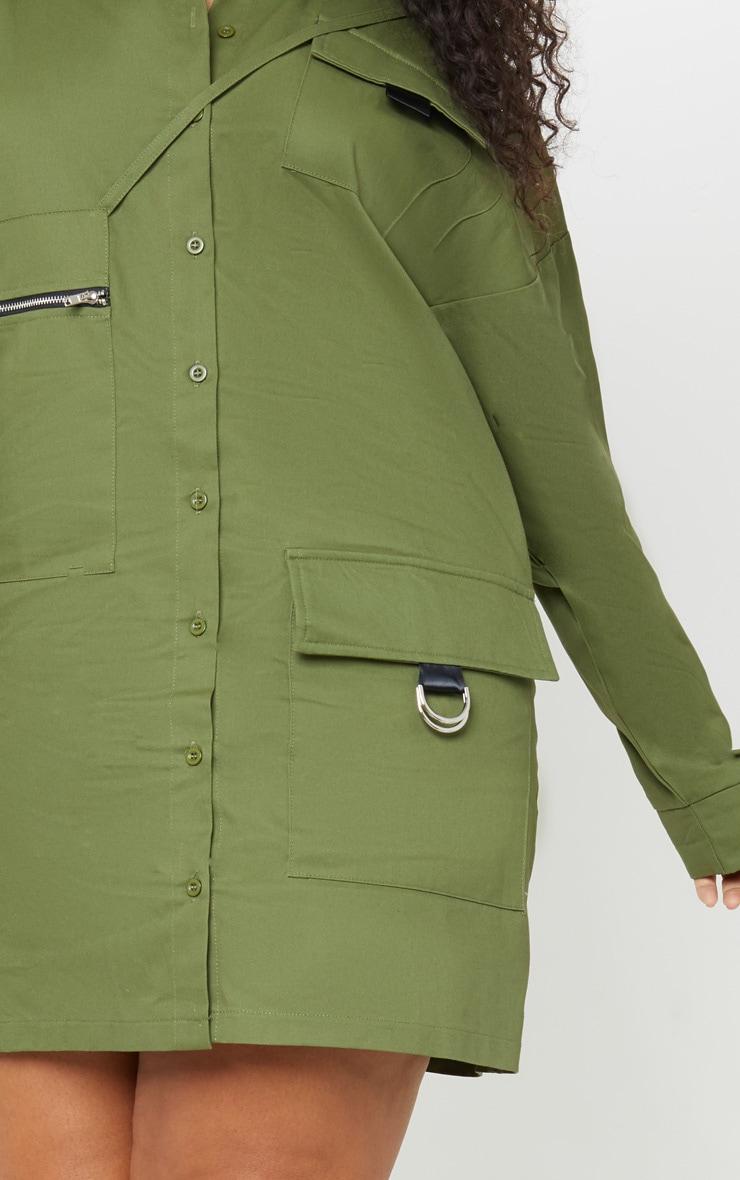 Plus Khaki Oversized Cargo Shirt Dress 5