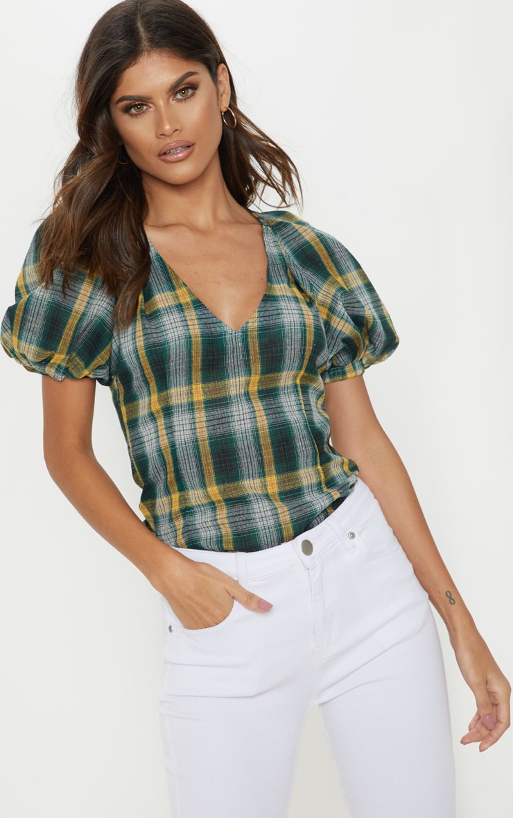 Green Check Puff Short Sleeve Top 4