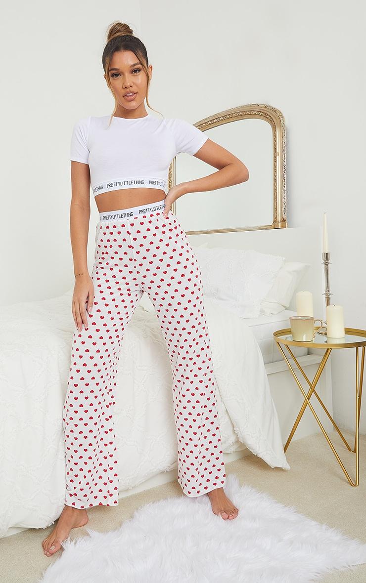 PRETTYLITTLETHING Heart Print Trouser PJ Set 1