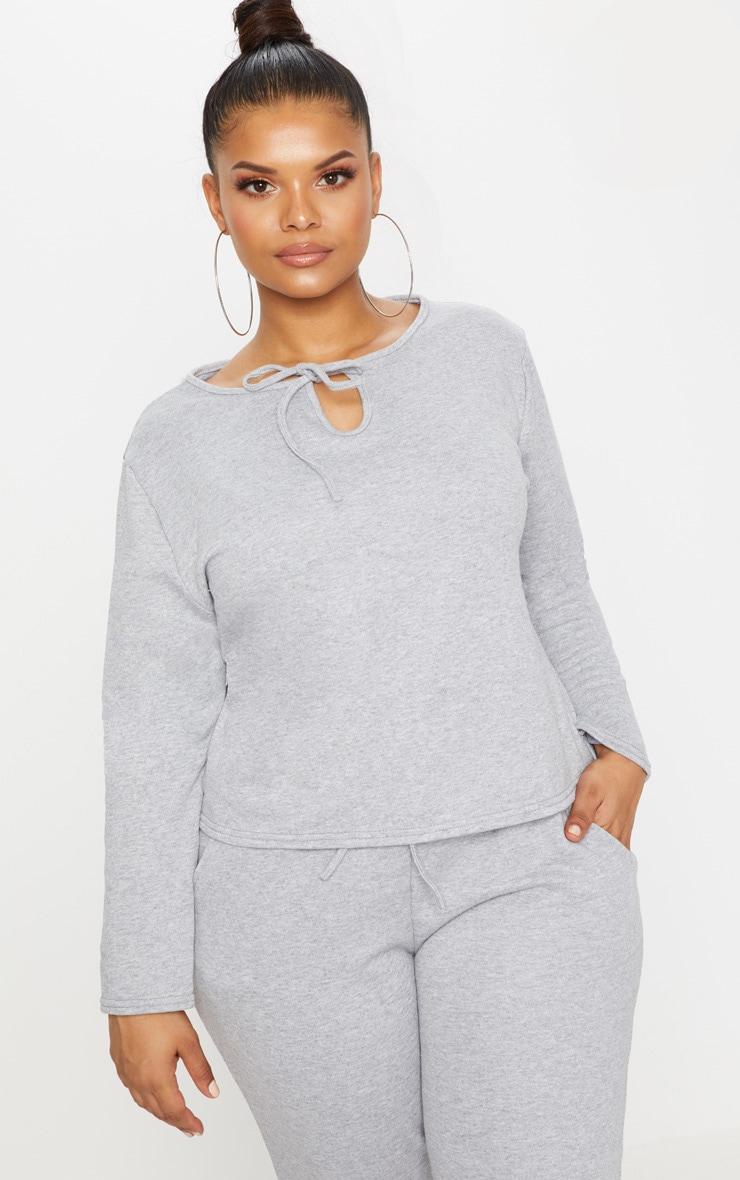 Plus Grey Marl Tie Detail Sweater 1