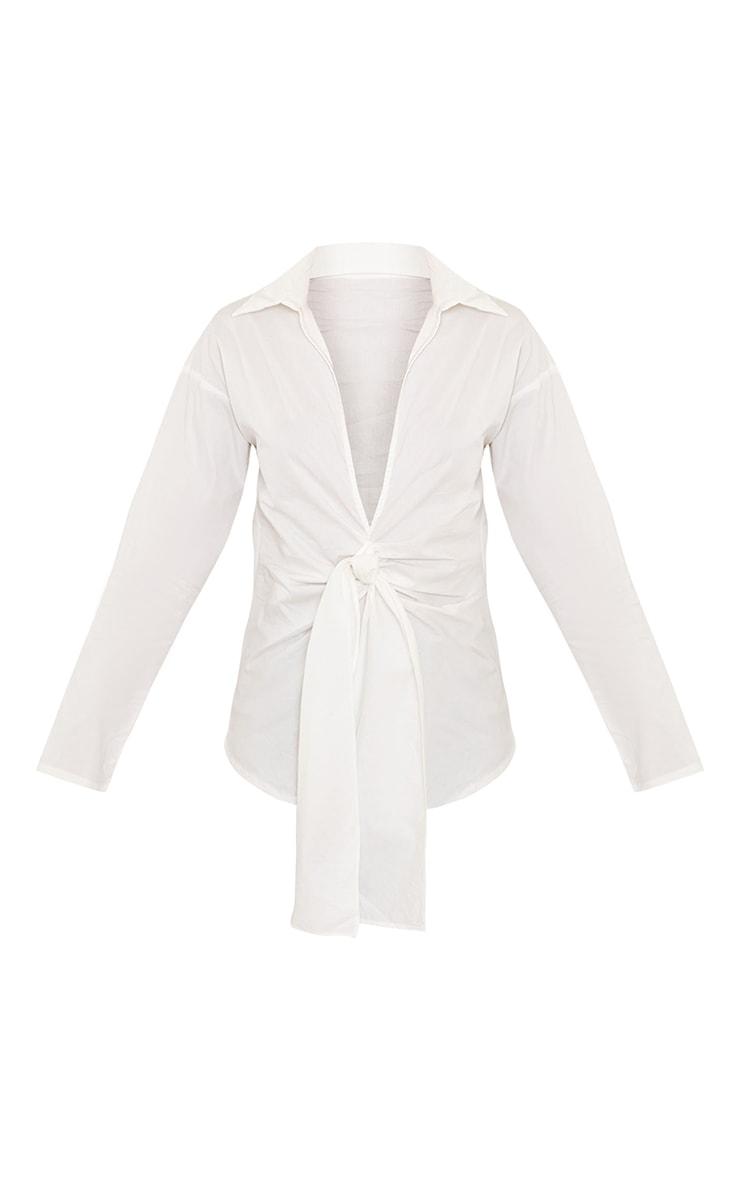 White Cotton Twist Front Plunge Blouse 5
