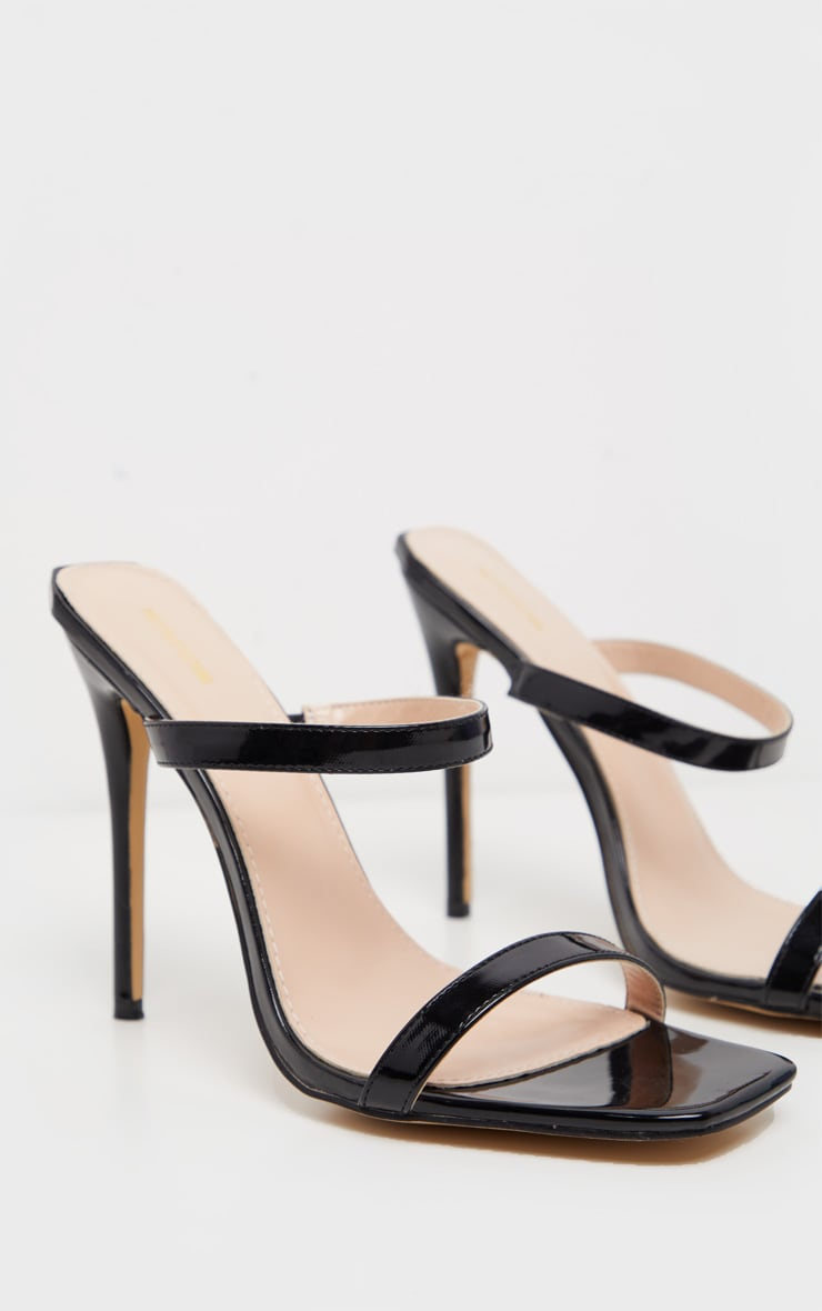 Black Twin Strap Square Toe Mule Sandal 3