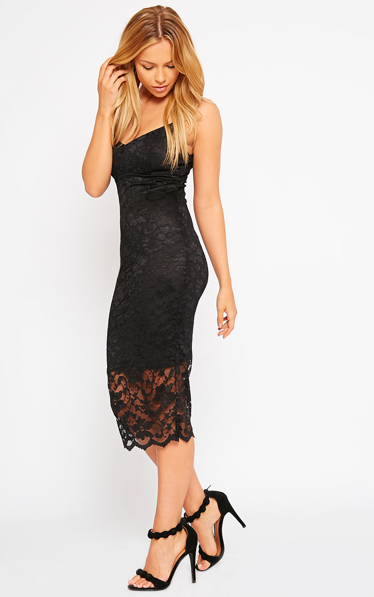 Adley Black Lace Midi Dress 4